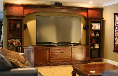 Large screen tv entertainment center