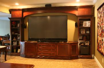 Large screen flat screen TV entertainment/display center