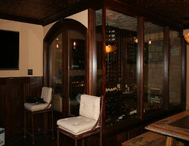 Beautiful, glass enclosed wine room